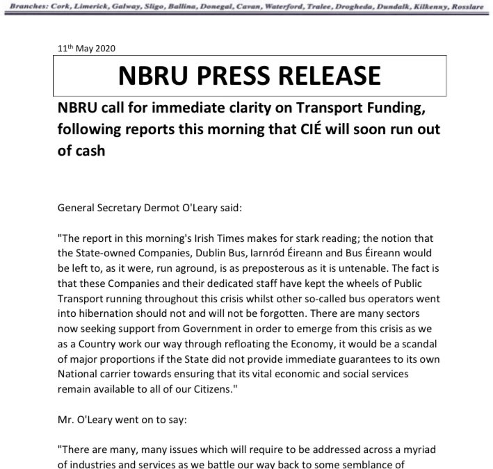 NBRU call for immediate clarity on Transport Funding, following reports this morning that CIÉ will soon run out of cash